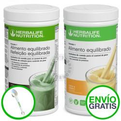 Pack dos batidos herbalife formula 1 con con cuchara y envío gratis. ahorroherbal.com