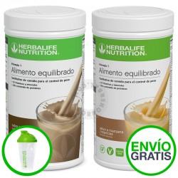 Pack dos batidos herbalife formula 1 con con coctelera y envío gratis. ahorroherbal.com