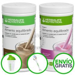 Pack dos batidos herbalife formula 1 con con coctelera, cuchara y envío gratis. ahorroherbal.com